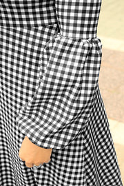 'Camilla' Black Gingham Dress