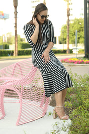 'Aubrey' Black & White Stripe Dress