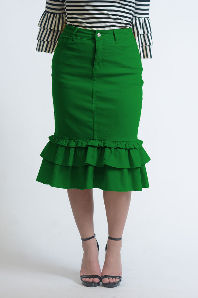 Iliana Kelly Green Ruffle Denim Skirt