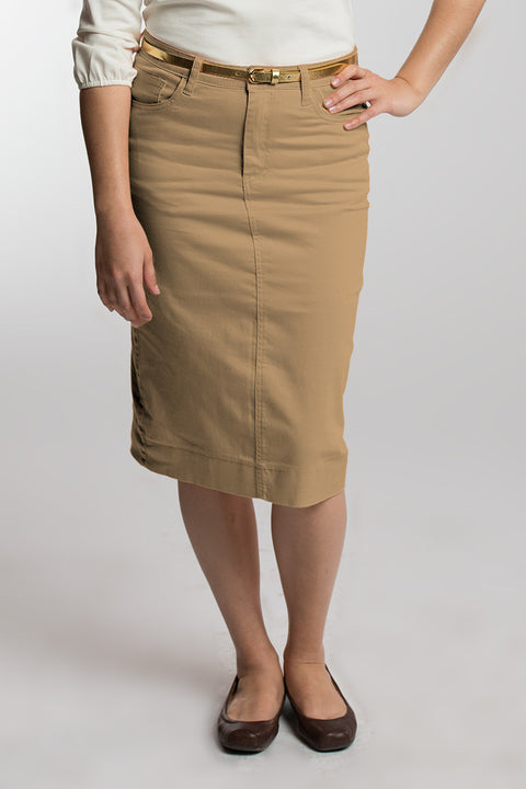 Nutmeg (Khaki) Denim Skirt