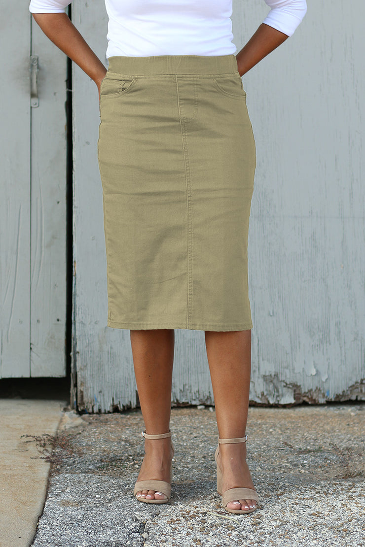 Khaki Elastic Waist Denim Skirt