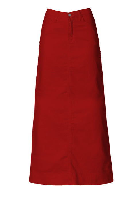 Long Red Denim Skirt (PRE-ORDER)