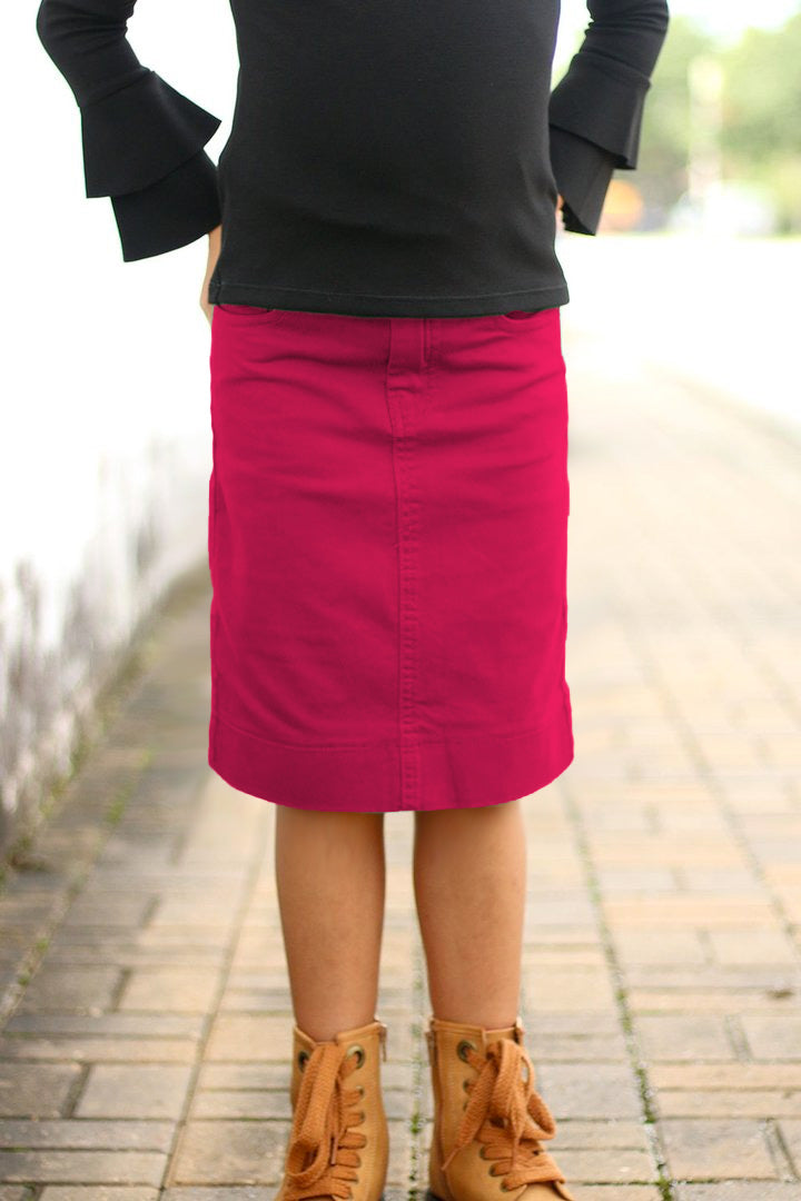 Girls Magenta Denim Skirt