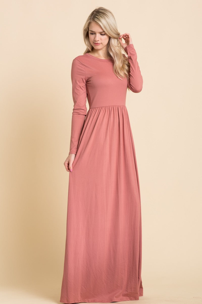 Mauve Empire Maxi Dress (Plus Size Included)