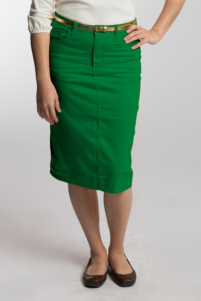 Jelly Bean (Green) Denim Skirt (LIMITED SIZES AVAILABLE)