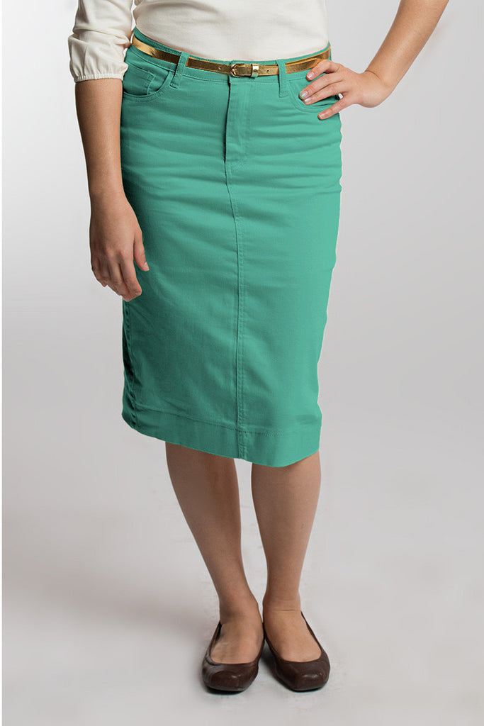 Mint Green Denim Skirt