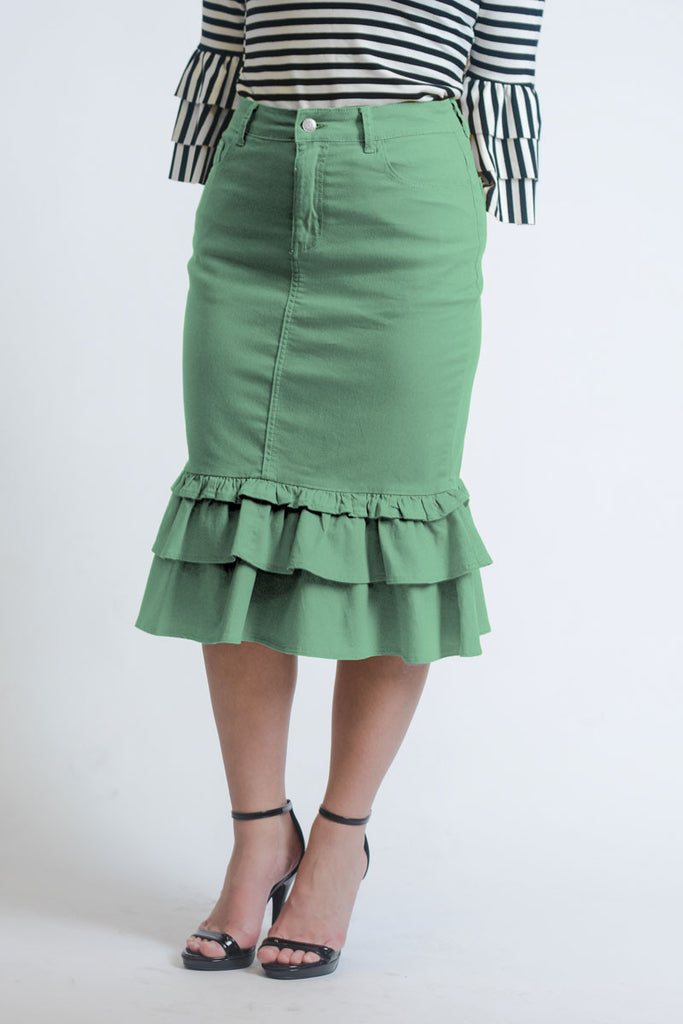 Iliana Mint Green Ruffle Denim Skirt