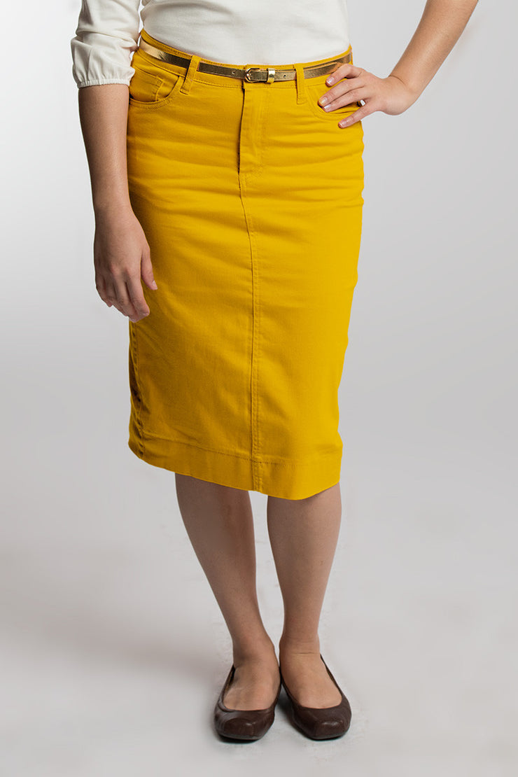 Candy Corn (Mustard) Denim Skirt