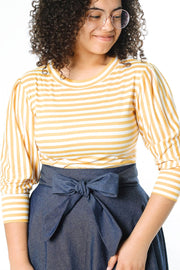 'Sophia' Mustard & White Stripe Top