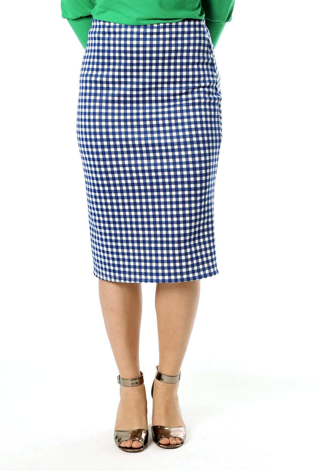'Riley' Navy & White Gingham Skirt