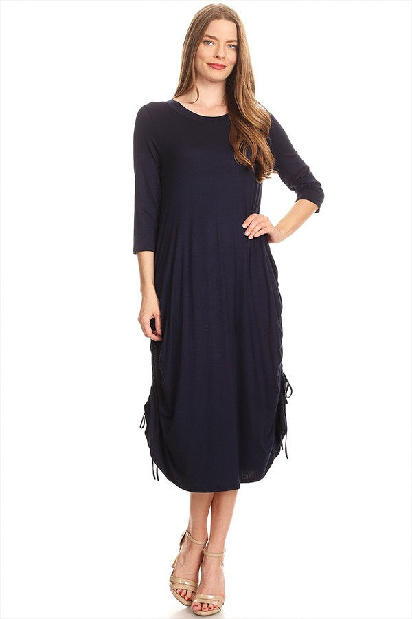 Navy Drawstring Dress