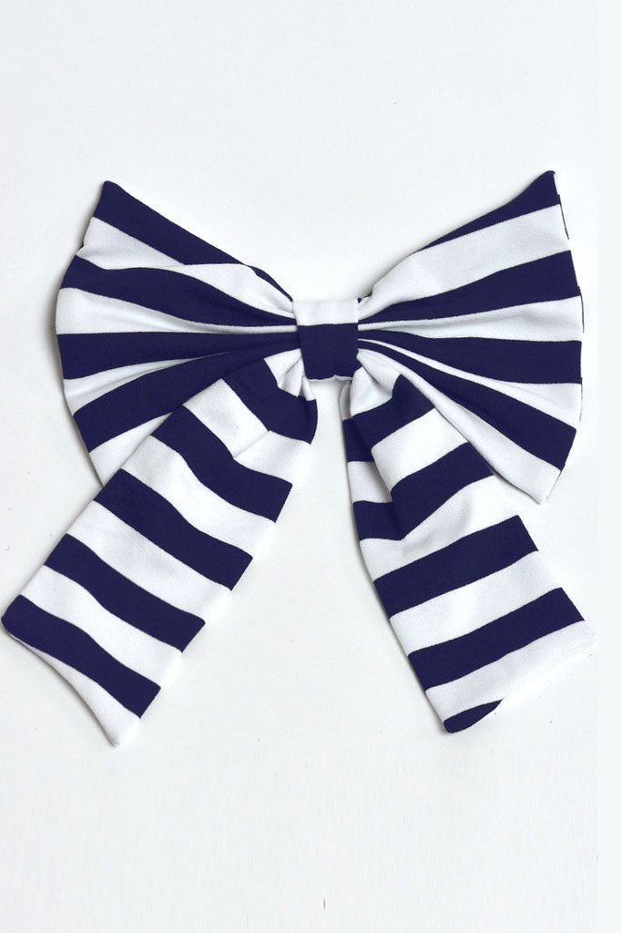 Navy & White Knit Bow