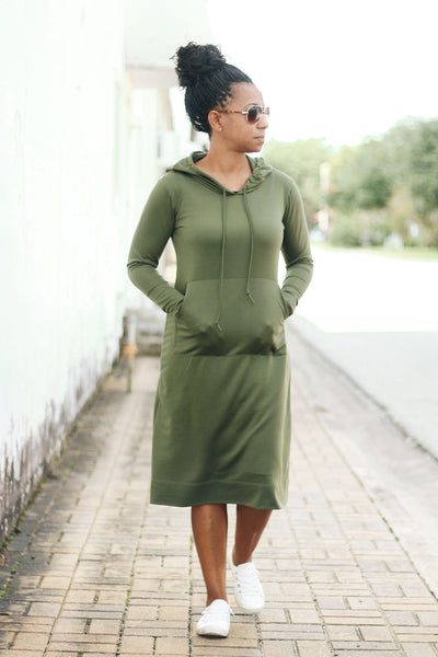 'Haleigh' Olive Green Hoodie Dress