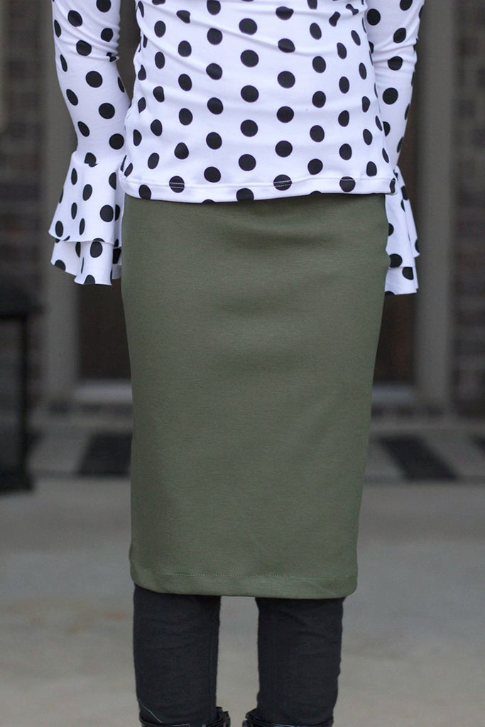 Girls Olive Green Knit Skirt