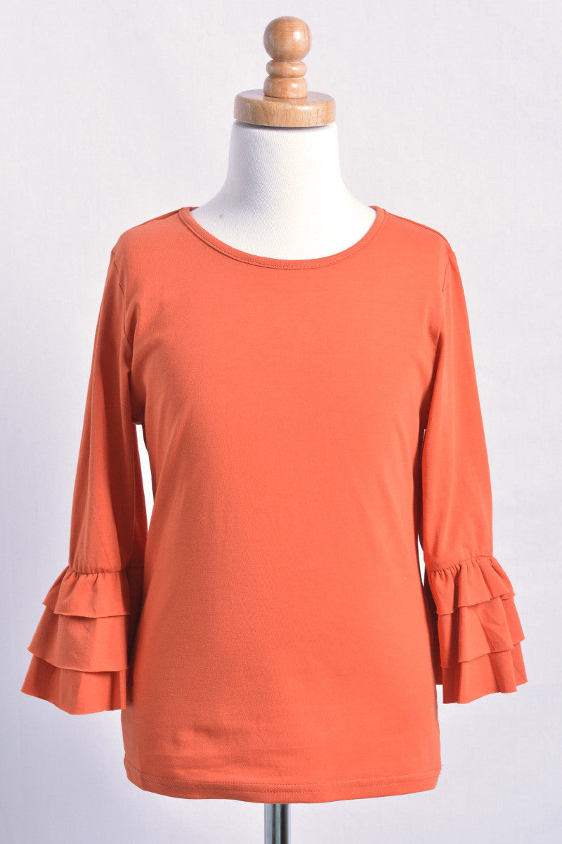 Orange 3/4 Ruffle Sleeve Girls Top