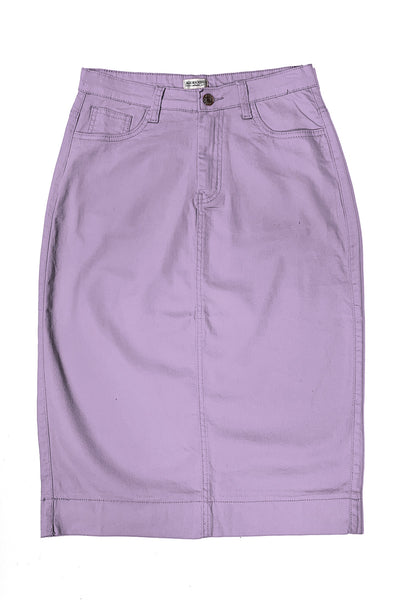 Orchid Bloom Color Denim Skirt