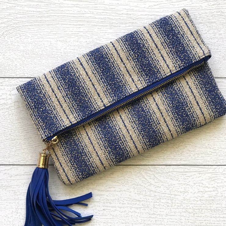 Navy Cream Striped Clutch