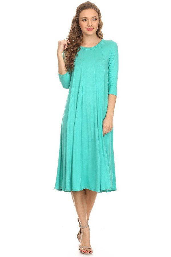 'Mariah' Jade Jersey Knit Dress (Plus Size Available)