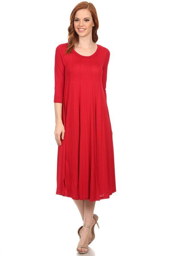 'Mariah' Red Jersey Knit Dress (Plus Size Available)