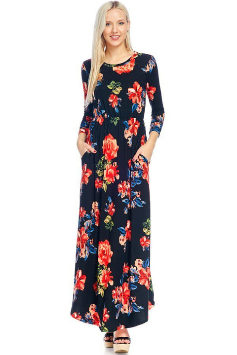 Black & Red Floral 3/4 Sleeve Maxi Dress