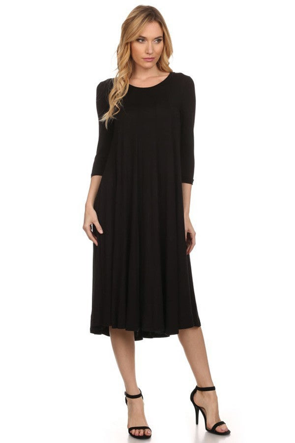 'Mariah' Black Jersey Knit Dress (Plus Size Available)