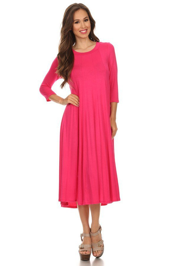 'Mariah' Fuchsia Jersey Knit Dress