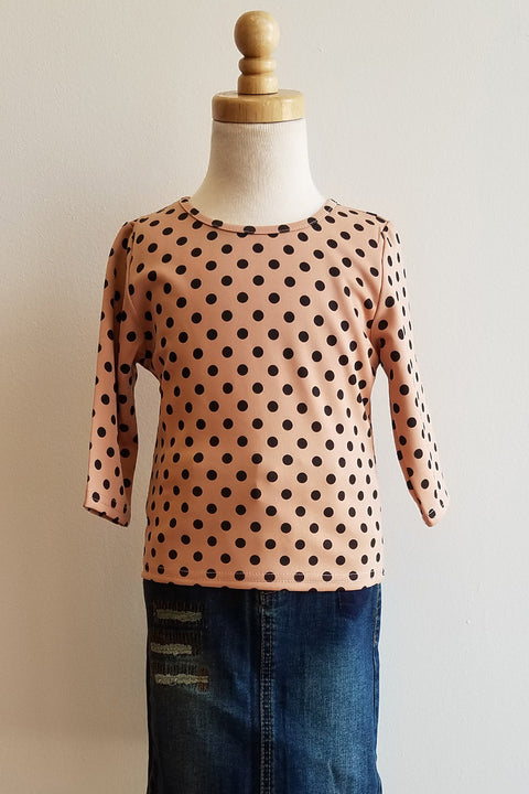 Girls Black & Pink Polka Dot 3/4 Sleeve Top