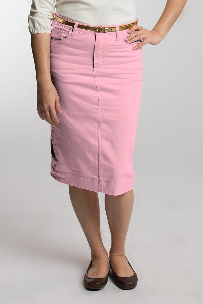 Pink Denim Skirt