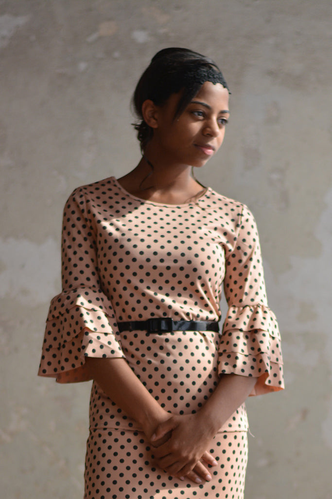 Black & Pink Polka Dot Sasha Ruffle Sleeve Top