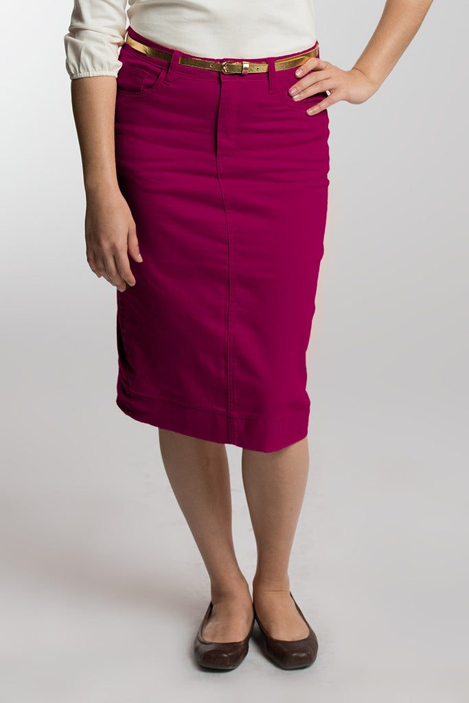 Raspberry (Magenta) Denim Skirt (LIMITED SIZES AVAILABLE)