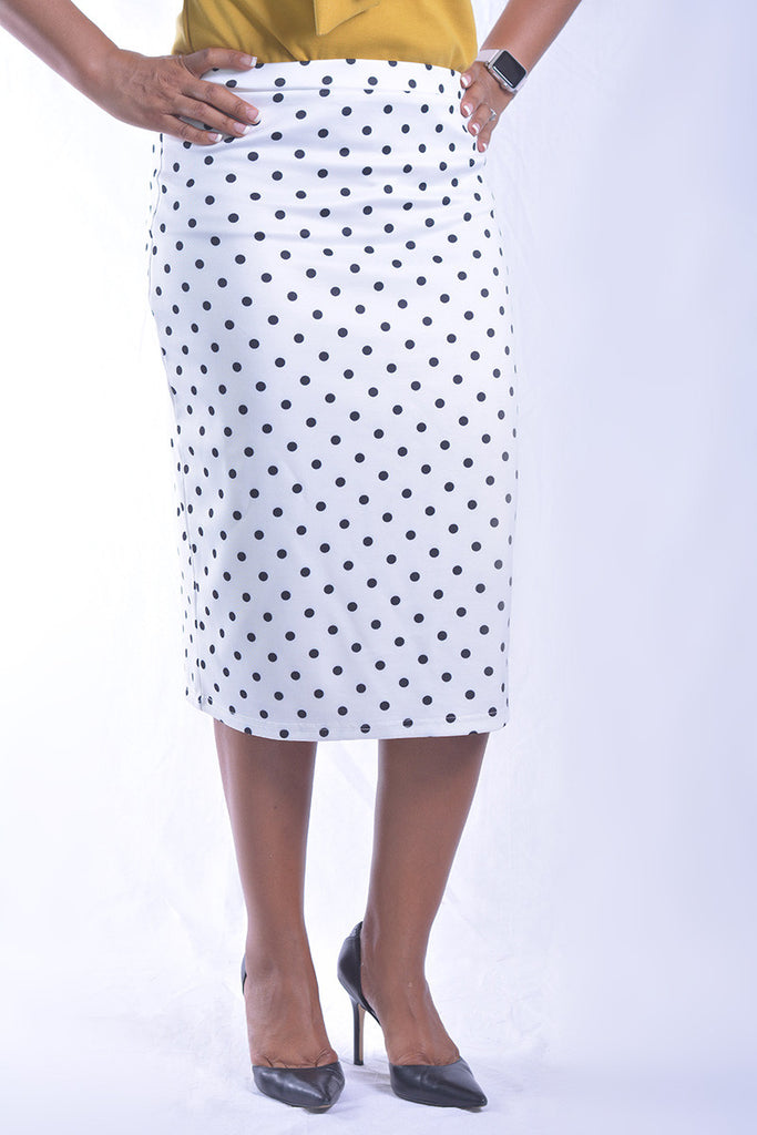White with Black Polka Dot Premium Skirt