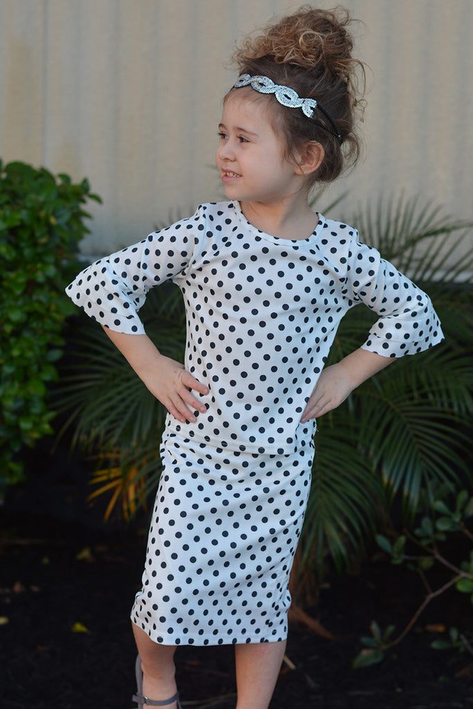 Girls Black & White Polka Dot Ruffle Top