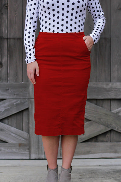 'Kara' Red Flat Front Denim Skirt