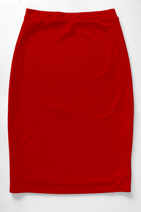 Crimson Red Premium Knit Skirt