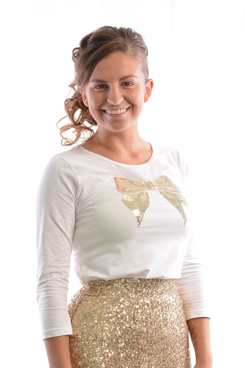 Cream Sequin Bow Tee (FINAL SALE)