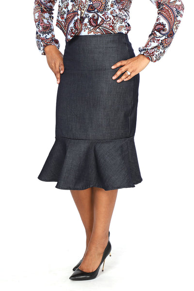 "'Ellen"" Denim Ruffle Skirt"