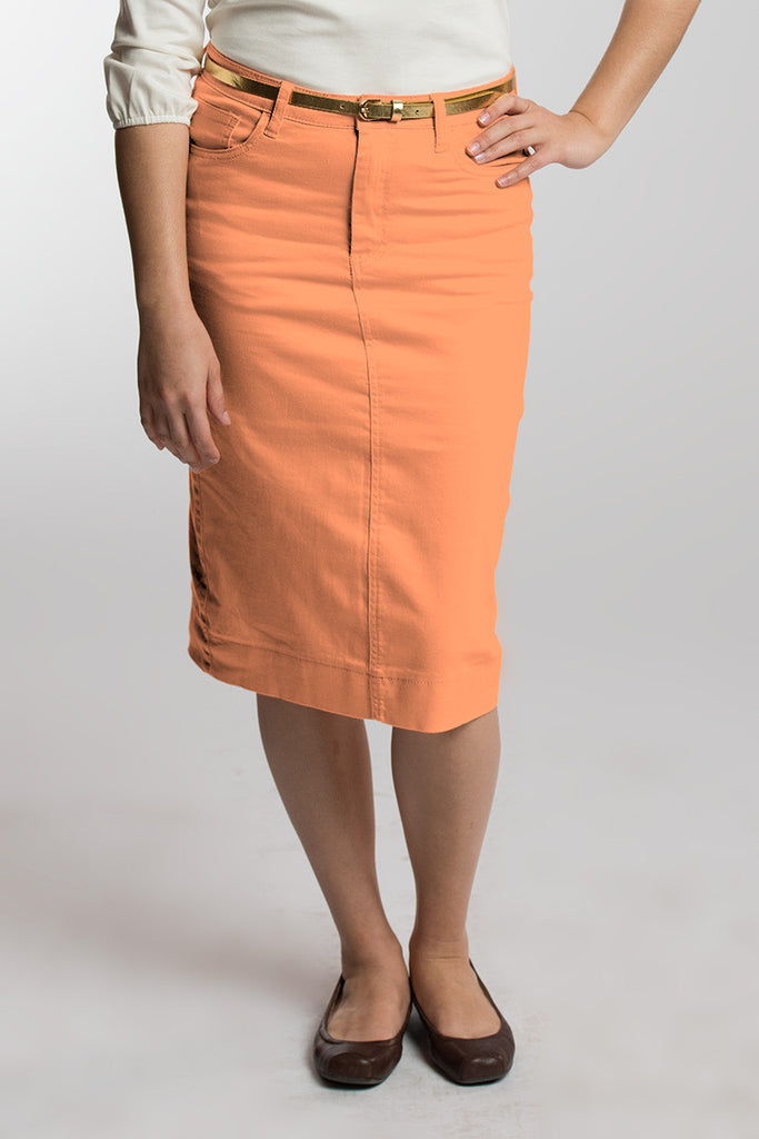 Tangerine Denim Skirt