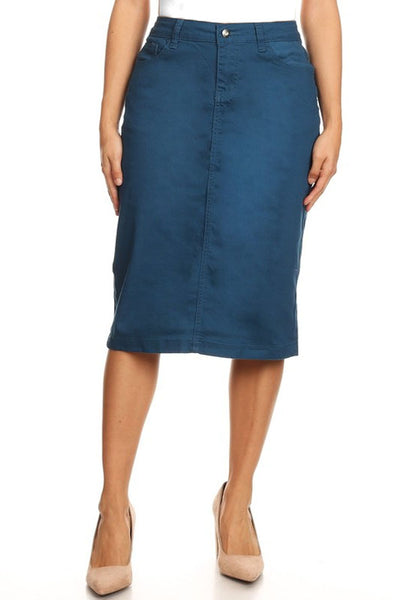 BG Teal Color Denim Skirt (MARKETPLACE)
