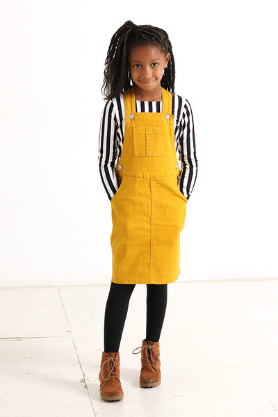 'Callie' Girls Mustard Denim Overalls