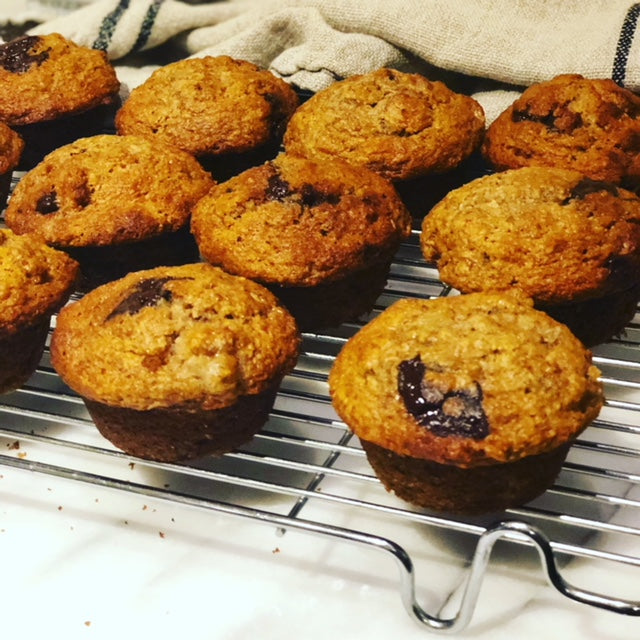 Delicious Banana Chocolate Chunk Spelt Muffins