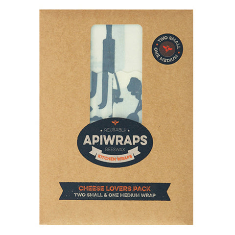 APIWRAPS Beeswax Wraps for Cheese - 1 medium + 2 small
