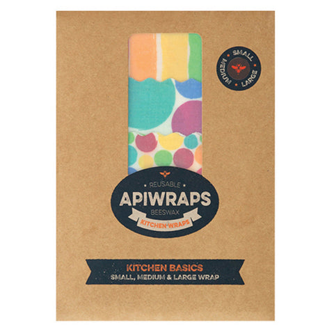 APIWRAPS Beeswax Wraps for Kitchen -1 Large, 1 Medium, 1 Small
