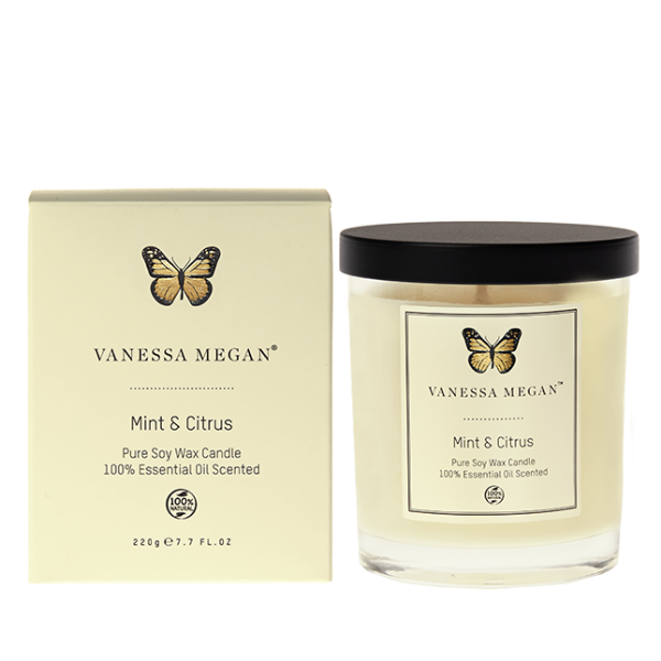 Vanessa Megan Mint & Citrus Soy Wax Candle - Nourishing Hub