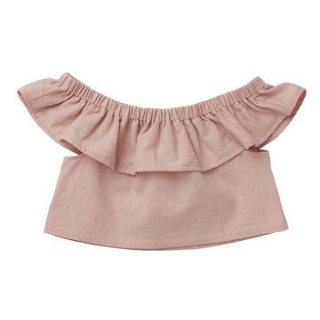 Ophelia Ruffle Crop Top - Blush - Moose & Finch