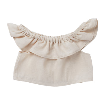 Ophelia Ruffle Crop Top - Oatmeal - Moose & Finch