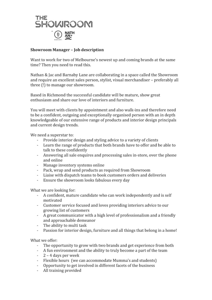 Interior Designer Job Description