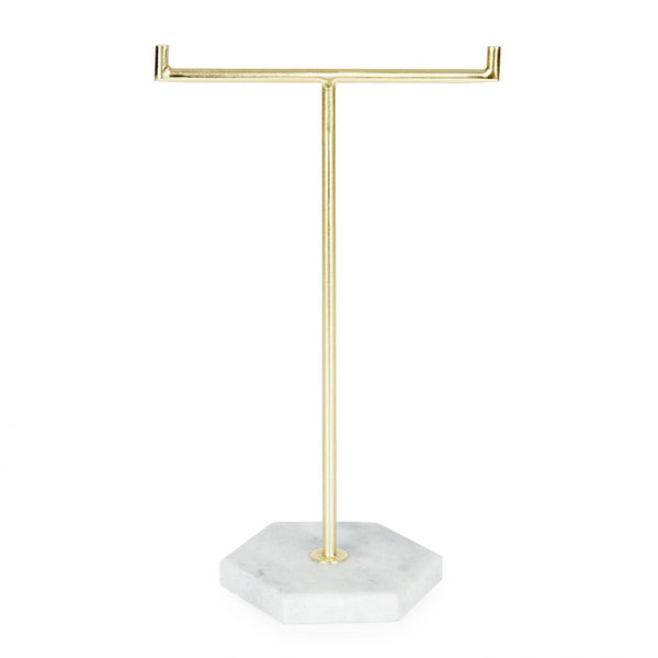 Marble & Brass Jewellery Stand