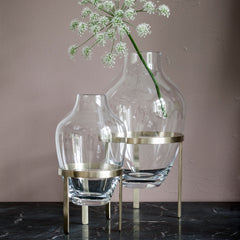 Glass Vase & Brass Stand - Small