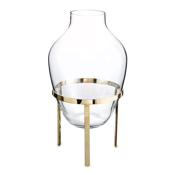 Glass Vase & Brass Stand - Large