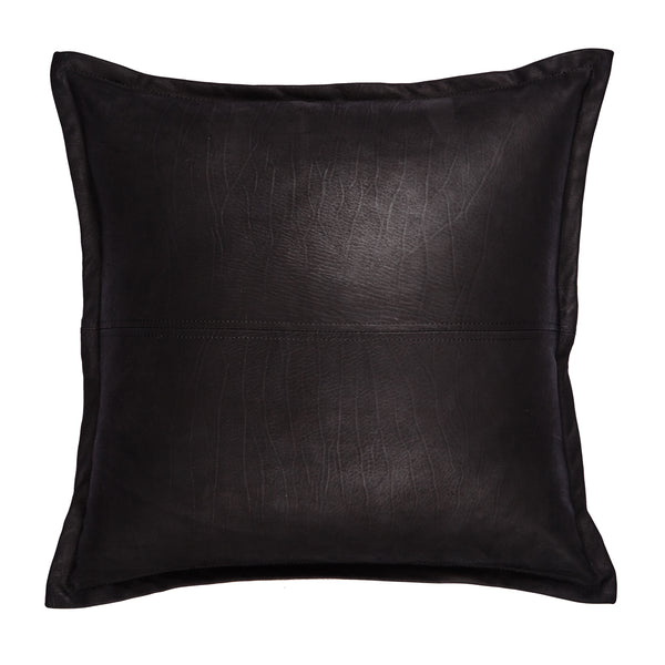Jett 50cm Black Leather Cushion